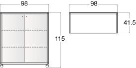 Banco a noleggio mod. BR100 - disegno tecnico