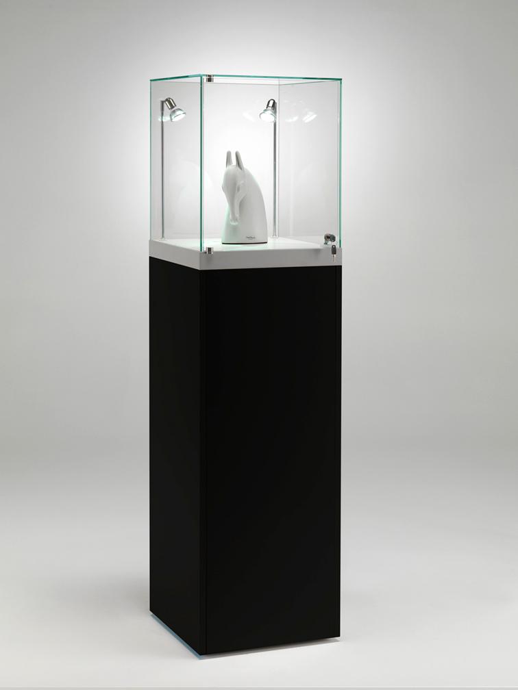 Espositore a noleggio in vetro temperato con anta apribile - finitura nera